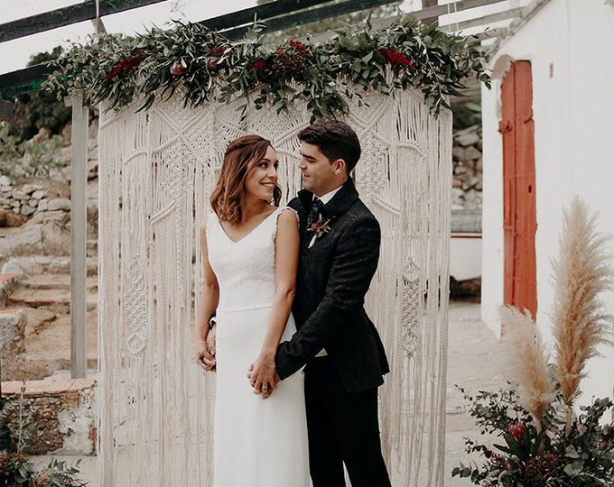 Wedding Macrame backdrop, Macrame Wedding Arch, Boho wedding, Wedding Backdrop Curtain, Boho Decor, Wedding decor, Backdrop curtain wedding
