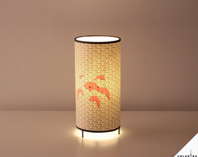 Japanese table lamp, table lamp, japanese lampshade, japanese pattern lamp, japanese lamp, octopus lamp, octopus table lamp, red octopus