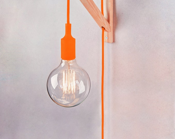 Wall lamp, Plug in wall sconce, FLUOR ORANGE plug in wall sconce, Plug in wall light , nordic sconce, Wooden Lamp bracket, nordic lamp, boho