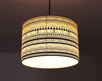 Drum lamp,  pendant lamp INDIANA B&W, lamp shade, livingroom lamp, pendant light, livingroom light, silkscreened lamp, lampshade 30 x 20 cm