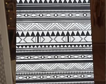 Handmade Silkscreen Print Indiana Black & White / Hand made silkscreen DIN-A4 Indiana Pattern