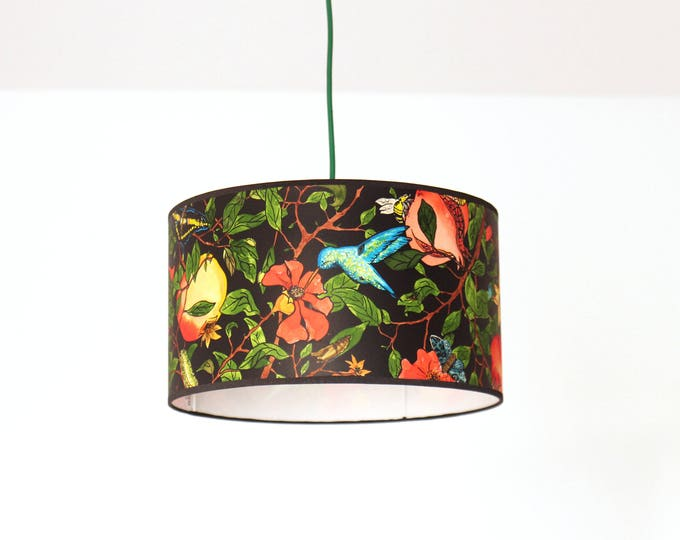 Pendant Lamp, roof lamp, deckenleuchte, ceiling lamp, home gift, original lamp, pendant lamps, drum lampshade, botanical lamp, bird lamp