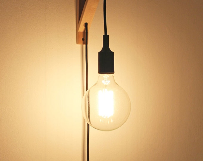 Plug in wall sconce, Wall sconce, Nordic Wall lamp, Bracket sconce, plug in sconce wood, wall light, wooden wall sconce, bracket lamp,sconce