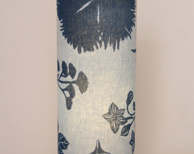 Lámpara de Mesa Plantas Azul Índigo Katazome, Lámpara de mesa japonés, lámpara de mesa tubo Oriental Azul, Lámpara de sobremesa