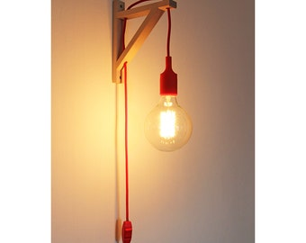 Plug in wall sconce, nordic sconce, Wall lamp, plug in wall sconce, Wooden Lamp bracket, nordic lamp, boho lamp, fabric cord with switch