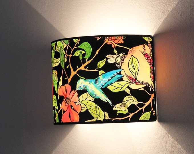 Wall Lamp, wall sconce, plug in wall sconce, wall lampshade Pomegranate Tree, hummingbird lamp, wall lamp design, original lamp, nice gift,