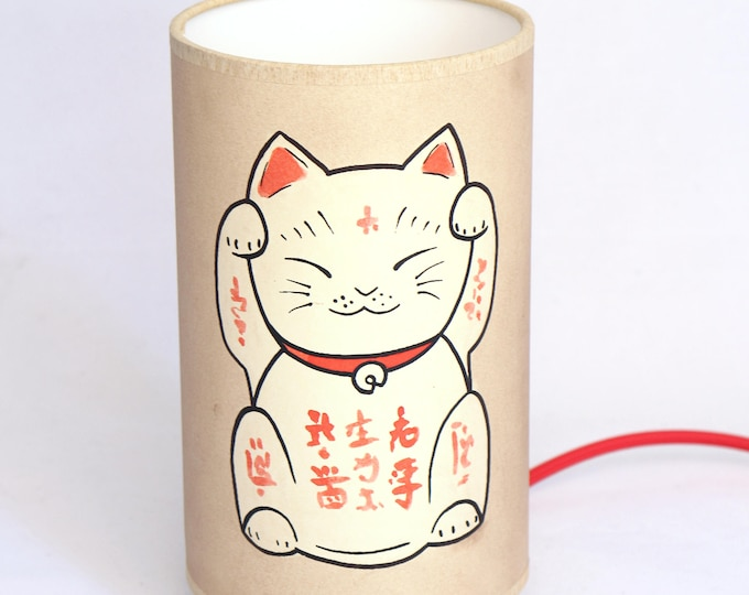 Japan lamp, Japanese table lamp, Japanese lamp cat, table lamp japanese, kawaii, japan lamp, lamp Maneki neko, manekineko, maneki-neko lamp