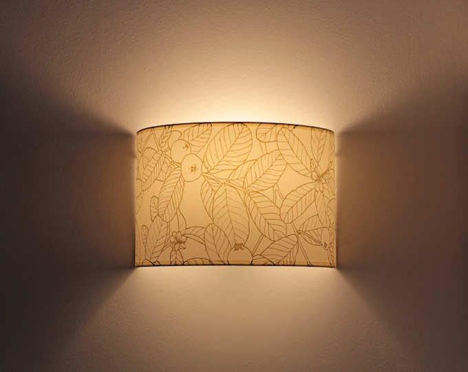 Plug in wall sconce,  Wall sconce plug in, wall light plug in, Wall lamp plug in, Sconce botanical drawing, Wall sconce GUAYABO A, Lampshade
