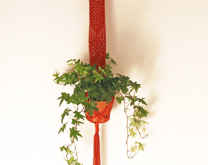 Red tile Macrame,  Red hanging planter, Macrame plant hanger, Macrame pot holder, Boho holder planter, Boho pot hanger, Gift, Wall decor