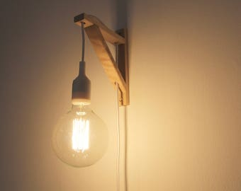 Wall sconce, Wall lamp, Plug in wall sconce, plug in wall light, plug in wall lamp, plug in wall light,  Lamp, wooden lamp, Nordic lamp