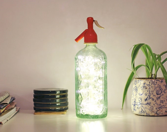 Vintage siphon lamp, Bottle soda, Siphon lamp, Vintage lamp, Light bottle, Bottle lamp, Led lights lamp, Led lights bottle, Old bottle lamp