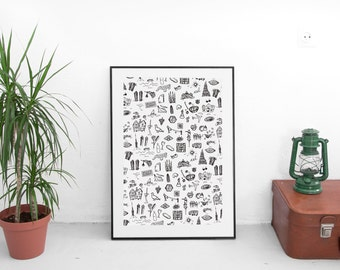 Barcelona Silk Screen Print / Hand made silk screen DIN-A4, Print, Illustration, Handmade Silkscreen,Manual screenprinting,Barcelona drawing