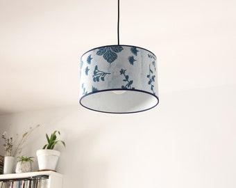 Blue Indigo Ceiling lamp Katazome, Japanese pendant lamp, blue Oriental ceiling lamps, pendant lamp, ceiling lamp plants