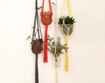 Hanging planter, macrame plant holder, macrame plant hanger, macrame planter, fiber art, modern macrame, home decor, boho, yellow