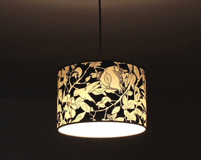Pendant Lamp Pomegranate Tree black and white, pendant lamp hummingbirds, pendant lamp handmade silkscreening, ceiling lamp tree and birds
