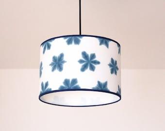 Pendant lamp, indigo lamp, hanging lamp, itajime shibori lamp, japanese lamp, yuna kono & Luzdepapel lamp, handmade lamp, lampshade pendant