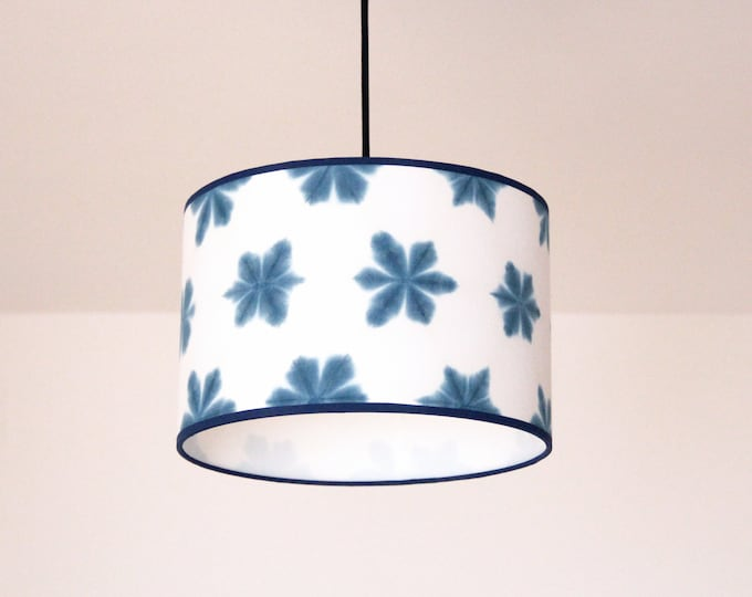 Blue Indigo Ceiling lamp Itajime Shibori, Japanese pendant lamp, blue Oriental ceiling lamps, pendant lamp, ceiling lamp