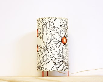 Table lamp, Table lamp leafs, Tube table lamp handprinted,  lamp leafs, Lampshade table, Table lamp red fruit, Tube lampshade, Lamp shade