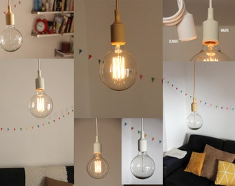 Hanging lamp:  Textile cord, Silicone bulb-socket and a rosette / Pendant lamp / Ceiling lamp / Edison lamp / Fabric cord lamp / Colors lamp