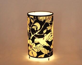 Table Lamp shade Pomegranate tree, table lamp birds, table lamp nature illustration,  lamp table 20 x12cm, table lamp Tree Pomegranate B&W