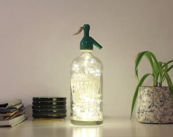 Vintage siphon lamp, Bottle soda, Siphon lamp, Vintage lamp, Light bottle, Bottle lamp, Led lights lamp, Led lights bottle, Old bottle lamp