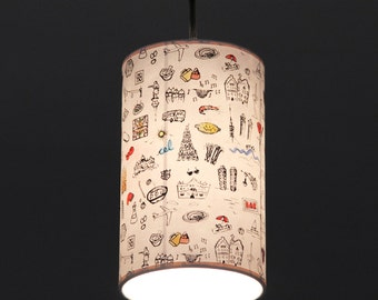 Roof light, Roof lamp, Pedant Lamp Barcelona Print, hanging lamp, handmade print, hanging light white, pendant light white,Hand-printed lamp