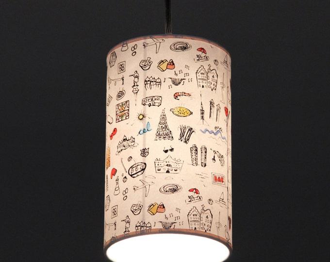 Roof light, Roof lamp, Pedant Lamp Barcelona Print, hanging lamp, handmade print, hanging light white, pendant light white, handprinted lamp