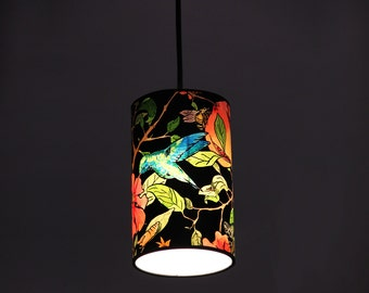 Cylindrical lamp, flowery lamp, pedant Lamp 20 x 12 cm, ceiling lamp, lamp Pomegranate Tree collection, flowery tree lamp, hummingbird lamp