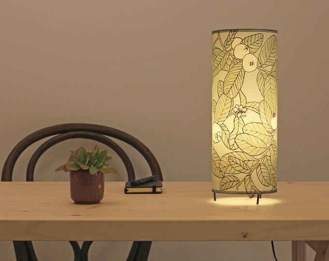 Table lamp grey, Table lamp green, Bedside lamp, Dorm lamp, Botanical lamp, Hand printed lampshade, Handpainted lampshade, Table lamp leafs