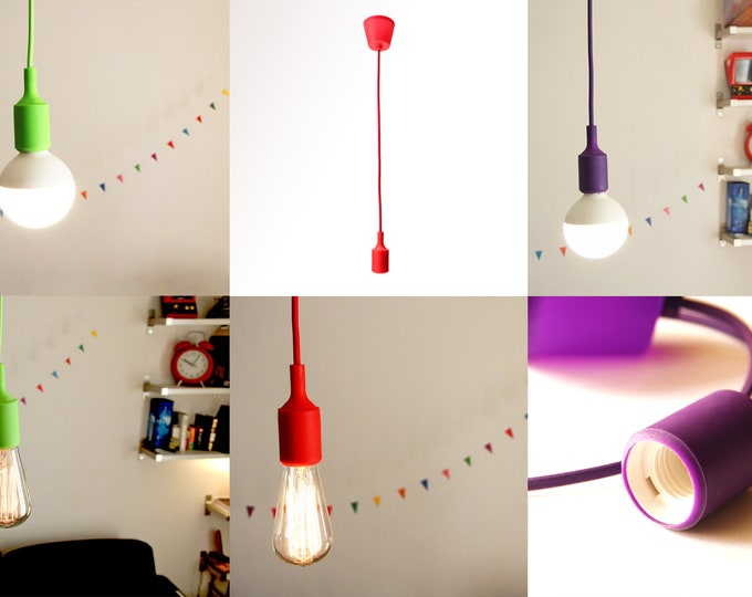 Pendant lamp:  fabric cord, Silicone socket and a rosette / Hanging lamp / Ceiling lamp/ / Edison lamp / Pendant lamp / Fabric cord lamp