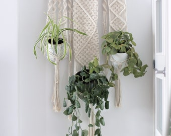 Macramé Wall hanging, Fiber planthanger, Macrame wedding, Plant hanger, Macrame three pot hanger, Macrame three plants, Boho, Tapestry
