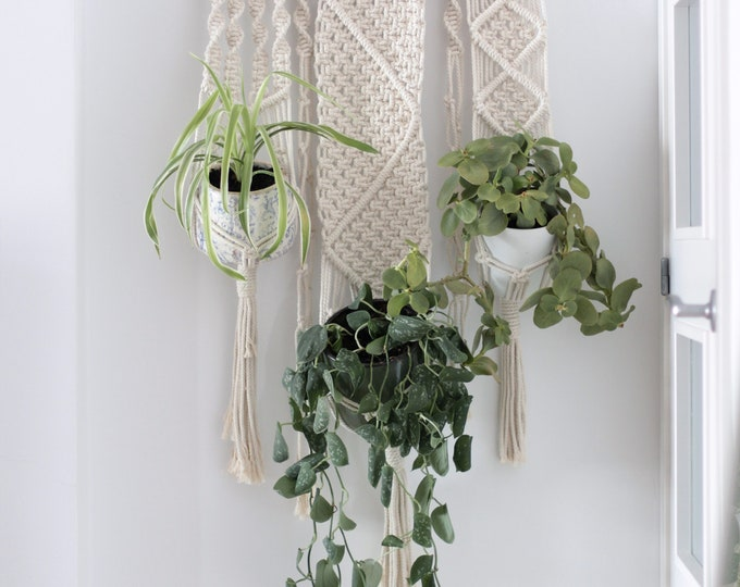Macramé Wall hanging, Mother's day gift, Fiber plant hanger, Macrame wedding, Plant hanger, Macrame three pot hanger, Macrame three plants
