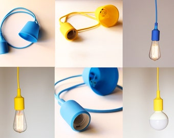 Pendant lamp, hanging lamp, silicone lamp. Kit: Textile cord, Silicone socket and a rosette / Hanging lamp / Ceiling lamp / Edison lamp