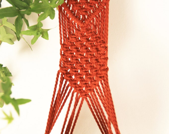 Wall Hanging planter, Red tile wall hanging,  Red hanging planter, Macrame plant hanger, Macrame pot holder, Boho holder planter
