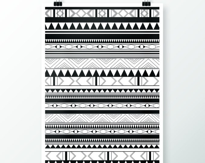 Handmade Silkscreen Print Indiana Black & White / Hand made silkscreen DIN-A4 Indiana Pattern