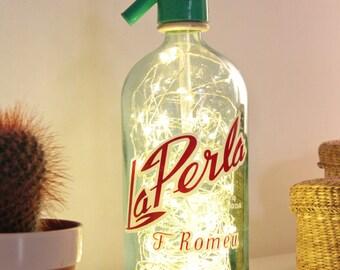 Syphon bottle lamp, Bottle soda, Sifon lamp, Vintage syphon lamp, Seltzer bottle lamp, Bottle lamp, Led lights bottle, Led lights syphon