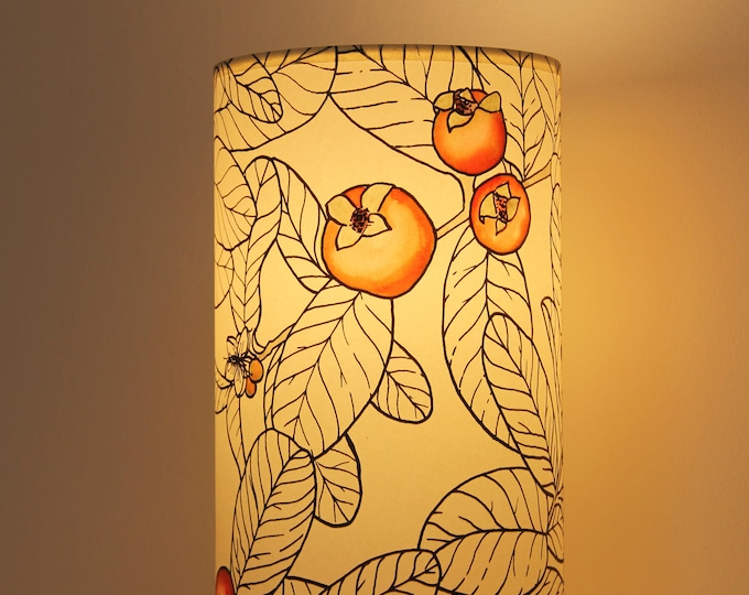 Tube table lamp, Table lamp leafs, Tube table lamp handprinted,  lamp leafs, Lampshade table, Table lamp red fruit, Tube lampshade