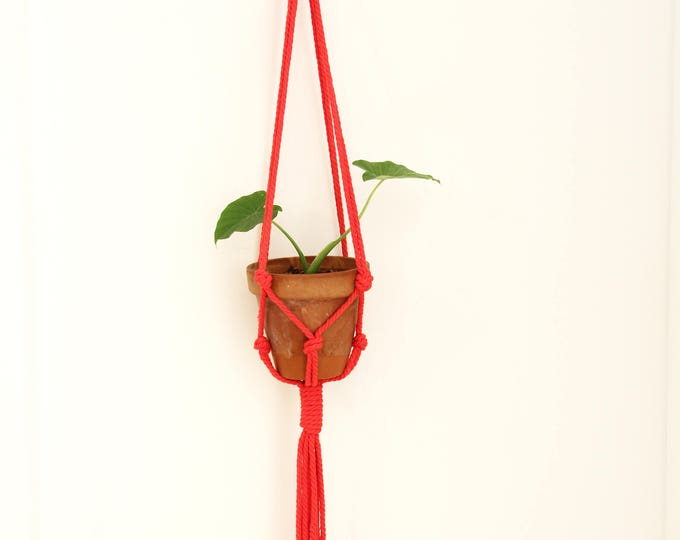 macrame plant holder, red macrame plant hanger, macrame plante, plant holder, hanging planter, modern macrame, home decor, boho, red macrame