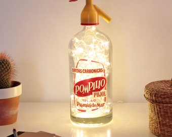 Bottle soda, Siphon lamp, Vintage lamp, Light siphon, Light bottle, Bottle lamp, Led lights lamp, Led lights bottle, Old soda siphon bottle