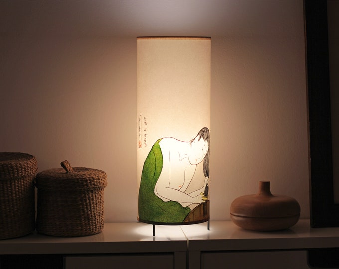 Japanese lamp shade, Japanese table lamp, Japanese girl lamp, Japan lamp, Japanese bedside lamp, Unique lamp, Lamp japan, Japanese lampshade
