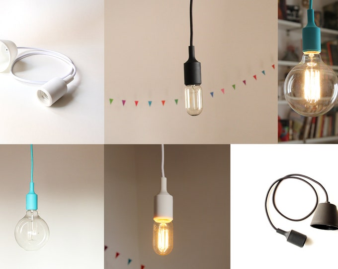 Pendant lamp:  Textile cord, Silicone bulb-socket and a rosette / Hanging lamp / Ceiling lamp / Ready to hang