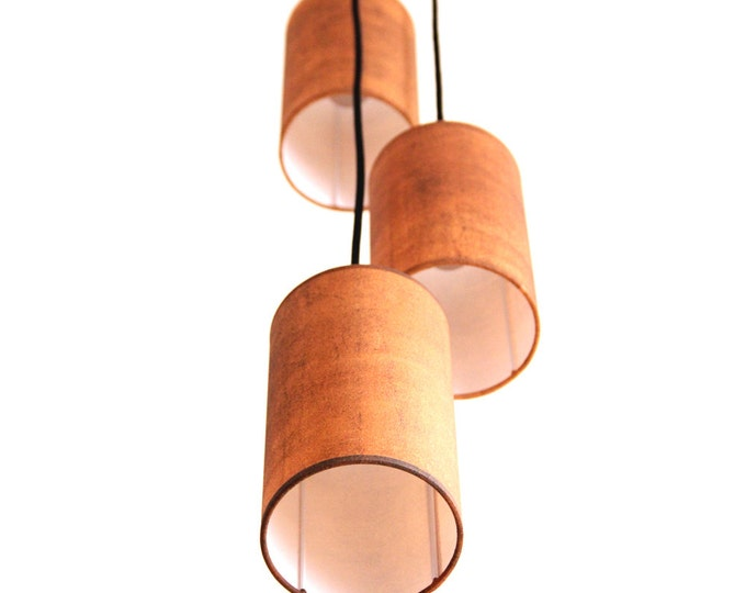 Triple Light industrial, pendant lamps industrial, triple pendant lamp, industrial lighting, three pendant lamp oxid, hanging lamp red-brown