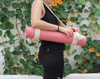 Macrame exercises mat band, Macrame yoga mat band, Macrame yoga mat belt, Macramé gym mat strap, Macrame gym mat strap, Macrame gym mat belt