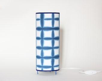 Square Table Lamp Indigo Blue Itajime Shibori, Japanese table lamp, table lamp Oriental tube blue, table lamp