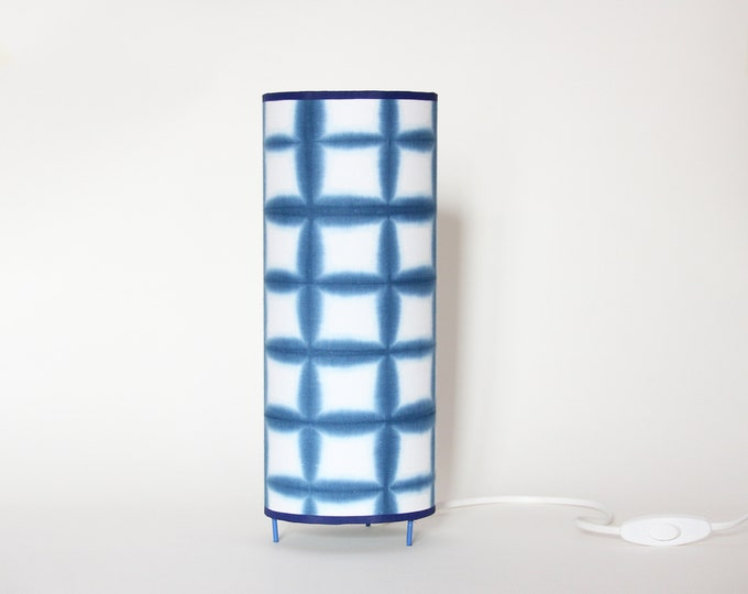 Square Table Lamp Indigo Blue Itajime Shibori, Japanese table lamp, table lamp Oriental tube blue, table lamp