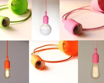 Pendant lamp:  Textile cord, Silicone bulb-socket and a rosette / Hanging lamp / Ceiling lamp / Edison lamp/ Ceiling lamp / Color cord lamp