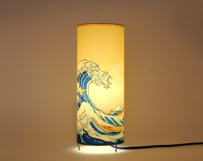 Japanese table lamp, japanese lamp, japan table lamp, bedside lamp, table lamp, japan light, table night light, japanese lamp, Wave Hokusai