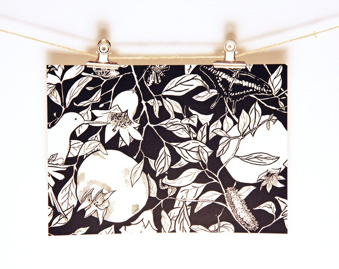 Pomegranate Tree Handmade Print / Hand made silk screen DIN-A4 horizontal