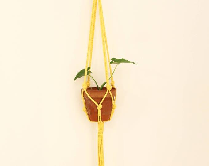 macrame plant holder, yellow macrame plant hanger, macrame plante, plant holder, hanging planter, modern macrame, home decor, boho, yellow