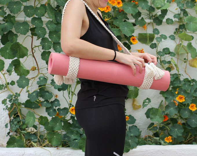 Macrame yoga mat band, Mother's Day gift, Macrame yoga mat belt, Macramé gym mat strap, Macrame gym mat strap, Macrame mat strap